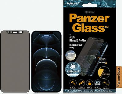 PanzerGlass iPhone 12 Pro Max Case Friendly CamSlider Dual Privacy Screen Protector Black